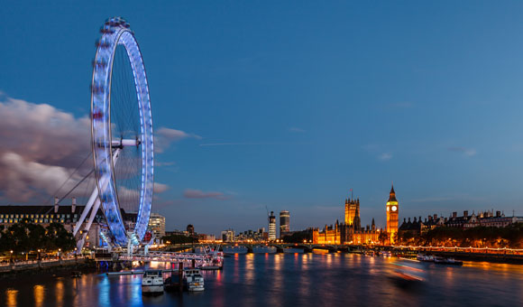 The River Thames, London Eye and the Houses of Parliament